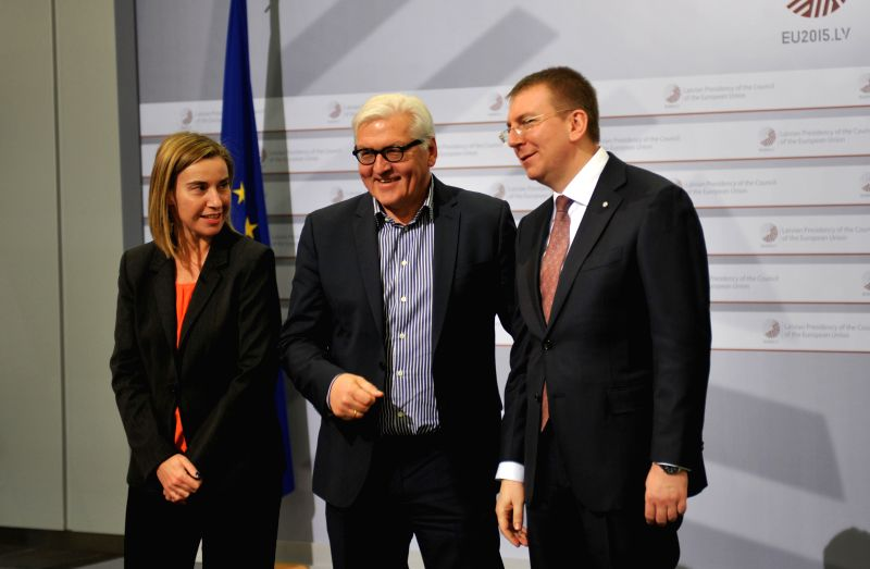 High Representative of the European Union for Foreign Affairs and Security Policy Federica Mogherini (L), Latvian Foreign Minister Edgars Rinkevics (R) and German ... - Edgars Rinkevics
