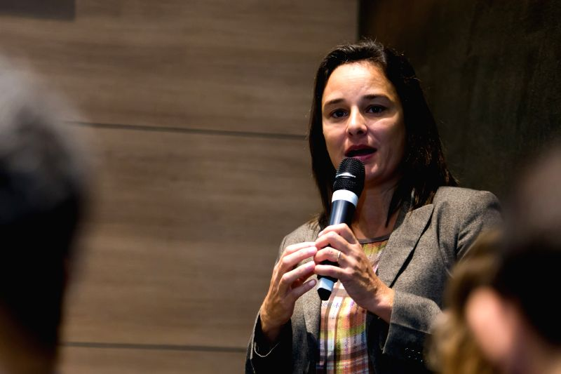 Mariana Mello, Paralympic Integration manager, speaks during a press conference in Rio de Janeiro, Brazil, April 27, 2015. A press conference was held here ...