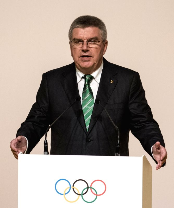 RIO DE JANEIRO, Aug. 1, 2016 - International Olympic Committee (IOC) President Thomas Bach addresses a speech during the opening ceremony of the 129th International Olympic Committee session in Rio ...