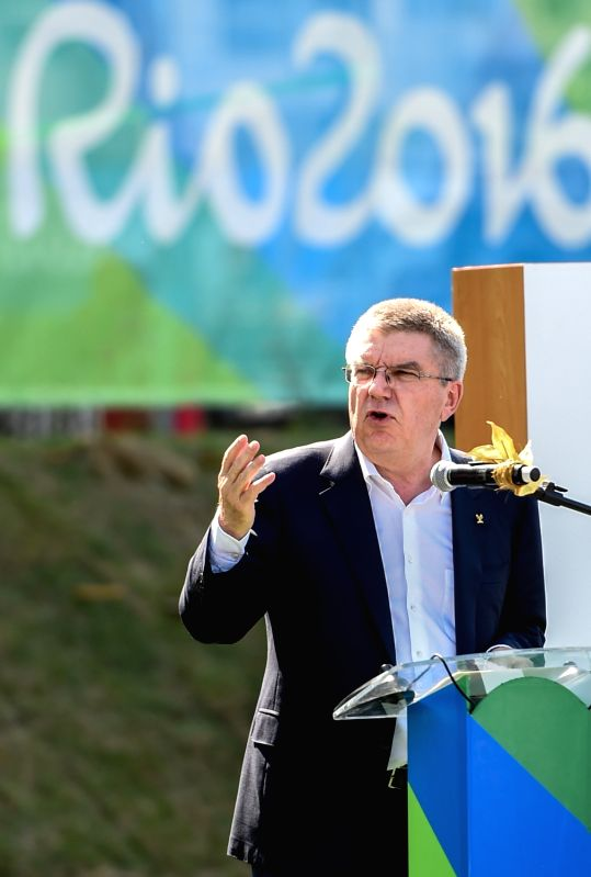 RIO DE JANEIRO, Aug. 1, 2016 - International Olympic Committee (IOC) President Thomas Bach gives a speech in the unveiling ceremony of the Olympic Truce Wall in the Olympic Village, in Rio de ...