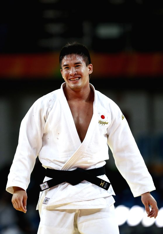 RIO DE JANEIRO, Aug. 10, 2016 - Baker Mashu of Japan celebrates after the men's 90KG judo final at the 2016 Rio Olympic Games in Rio de Janeiro, Brazil, on Aug. 10, 2016. Baker Mashu won the gold ...