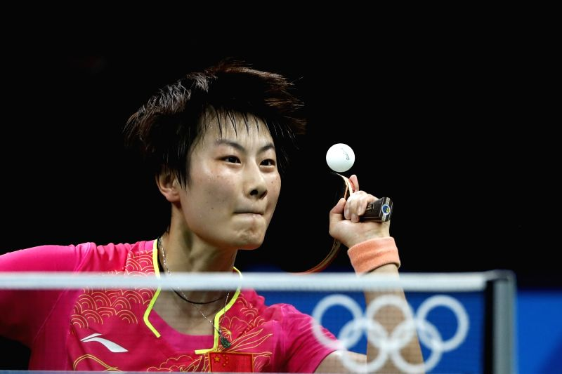 RIO DE JANEIRO, Aug. 10, 2016 - Ding Ning of China competes during the women's singles semifinal of table tennis between Ding Ning of China and Kim Song I of DPRK at the 2016 Rio Olympic Games in Rio ...