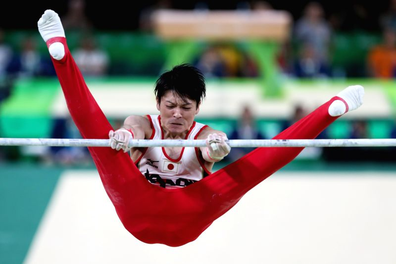 RIO DE JANEIRO, Aug. 10, 2016 - Kohei Uchimura of Japan acts during the horizontal bar competition of men's individual all-around final at the 2016 Rio Olympic Games in Rio de Janeiro, Brazil, on ...