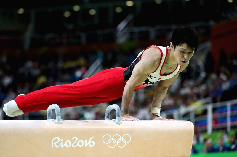 RIO DE JANEIRO, Aug. 10, 2016 - Kohei Uchimura of Japan acts during the pommel horse competition of men's individual all-around final at the 2016 Rio Olympic Games in Rio de Janeiro, Brazil, on Aug. ...