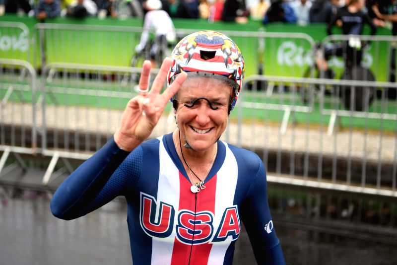 RIO DE JANEIRO, Aug. 10, 2016 - Kristin Armstrong of the United States celebrates after the women's individual time trial of cycling road at the 2016 Rio Olympic Games in Rio de Janeiro, Brazil, on ...