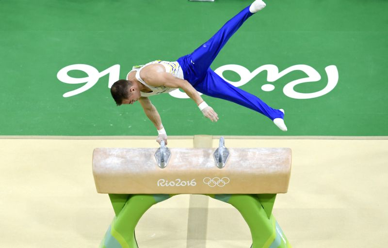 RIO DE JANEIRO, Aug. 10, 2016 - Oleg Verniaiev of Ukraine competes in pommel horse event during the men's individual all-around final of Artistic Gymnastics at the 2016 Rio Olympic Games in Rio de ...