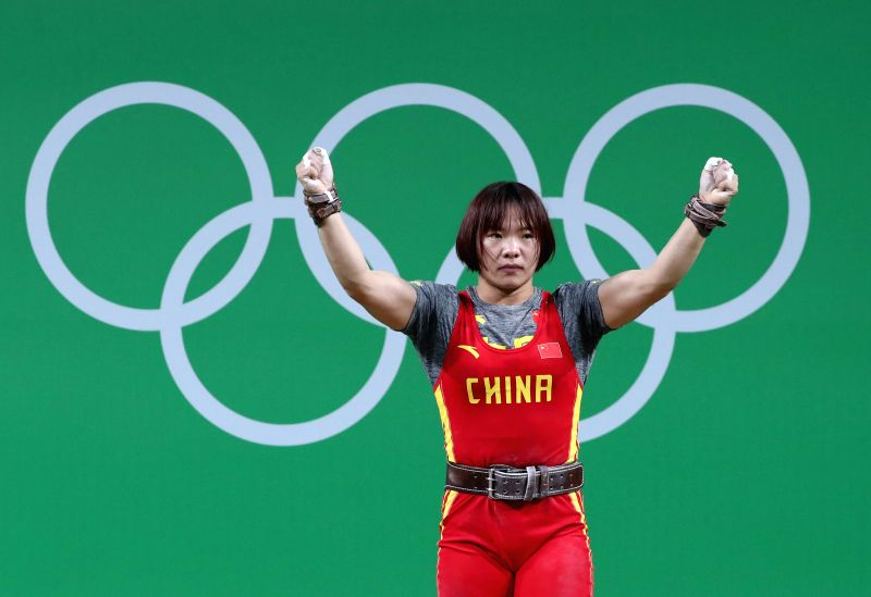 RIO DE JANEIRO, Aug. 10, 2016 - Xiang Yanmei of China celebrates during the women's 69KG weightlifting final at the 2016 Rio Olympic Games in Rio de Janeiro, Brazil, on Aug. 10, 2016. Xiang Yanmei ...