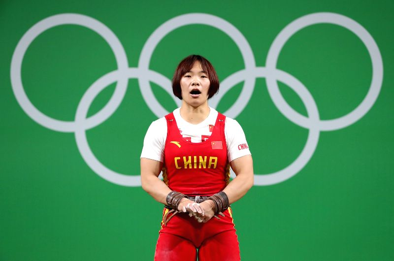 RIO DE JANEIRO, Aug. 10, 2016 - Xiang Yanmei of China reacts during the women's 69KG weightlifting final at the 2016 Rio Olympic Games in Rio de Janeiro, Brazil, on Aug. 10, 2016. Xiang Yanmei won ...