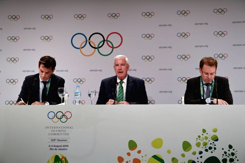 RIO DE JANEIRO, Aug. 2, 2016 - Craig Reedie (C), president of WADA speaks at the press conference of 129th IOC session in Rio de Janeiro, Brazil on Aug. 2, 2016. The 129th session of the ...
