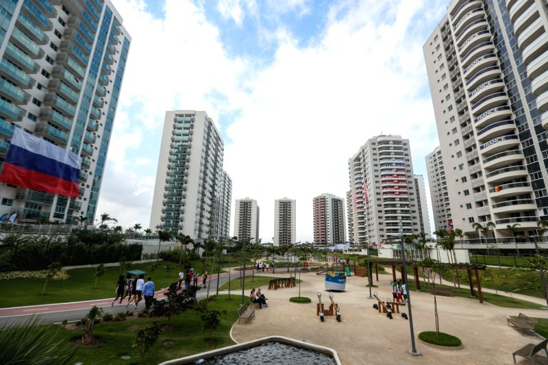 RIO DE JANEIRO, Aug. 2, 2016 - Photo taken on Aug. 2, 2016 shows the view of the Olympic village in Rio de Janeiro, Brazil. With 31 buildings and 3,604 apartments, the village will host more than ...