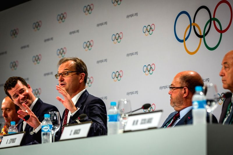 RIO DE JANEIRO, Aug. 3, 2016 - Mark Adams (C), IOC President's Spokesman speaks at the press conference of 129th IOC session in Rio de Janeiro, Brazil on Aug. 3, 2016. The 129th session of the ...