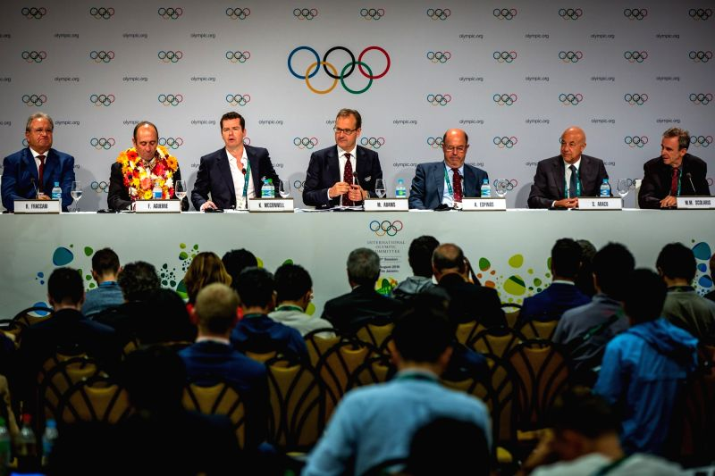 RIO DE JANEIRO, Aug. 3, 2016 - Photo taken on Aug. 3, 2016 shows the press conference of 129th IOC session in Rio de Janeiro, Brazil. The 129th session of the International Olympic Committee (IOC) ...