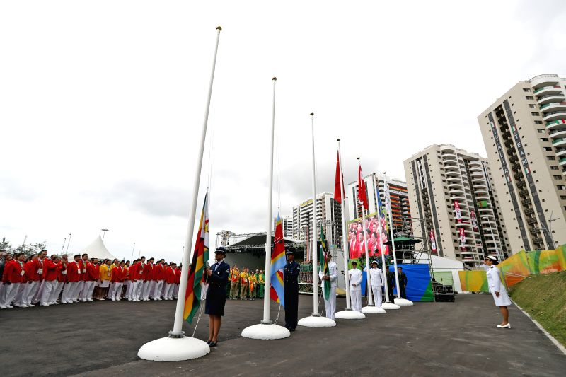 RIO DE JANEIRO, Aug. 3, 2016 - The Chinese delegation to the 2016 Rio Olympic Games participate the flag-raising ceremony at the Olympic Village in Rio de Janeiro, Brazil, on Aug. 3, 2016.