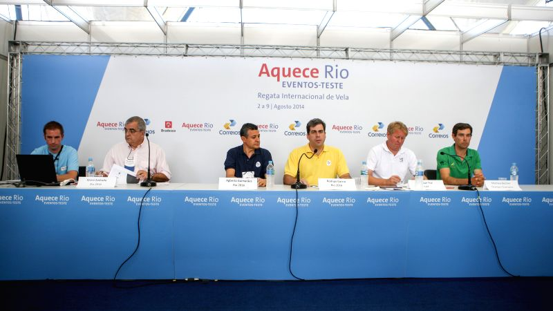 Delegates attend a press conference in Rio de Janeiro, Brazil, Aug. 3, 2014. A press conference was held by the Local Organizing Committee of Rio 2016 Olympic