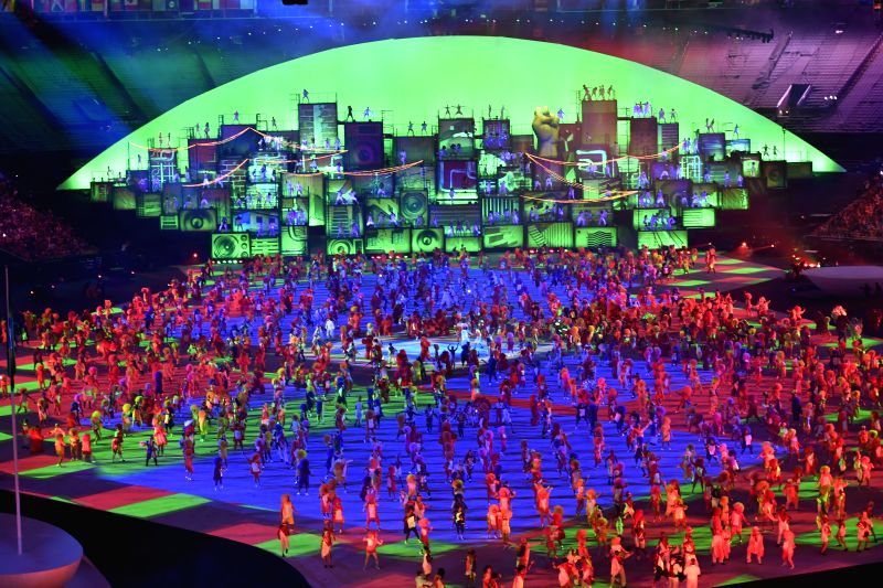 RIO DE JANEIRO, Aug. 5, 2016 - Chinese Olympic Delegation parade into Maracana Stadium during the opening ceremony of the 2016 Rio Olympic Games in Rio de Janeiro, Brazil, Aug. 5, 2016.