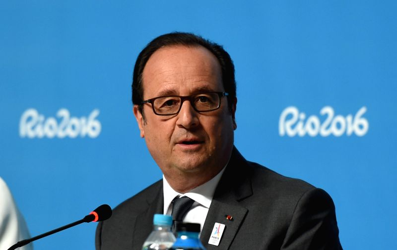 RIO DE JANEIRO, Aug. 5, 2016 - French President Francois Hollande speaks during a press conference at the Main Press Center in Rio de Janeiro, Brazil, Aug. 5, 2016. Paris 2024 Olympic Games Bidding ...
