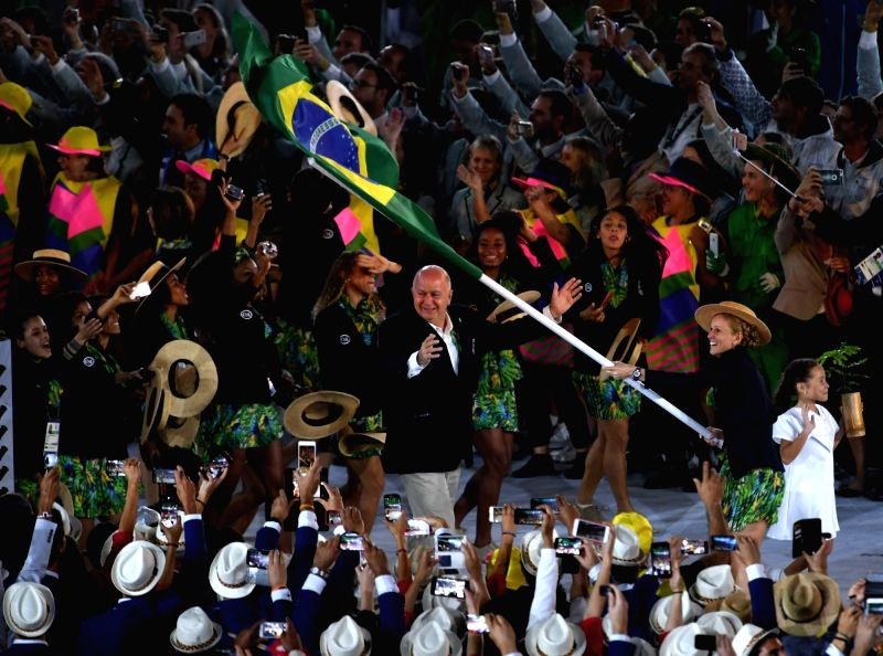 RIO DE JANEIRO, Aug. 5, 2016 - The delegation of Brazil parade into Maracana Stadium during the opening ceremony of the 2016 Rio Olympic Games in Rio de Janeiro, Brazil, Aug. 5, 2016.