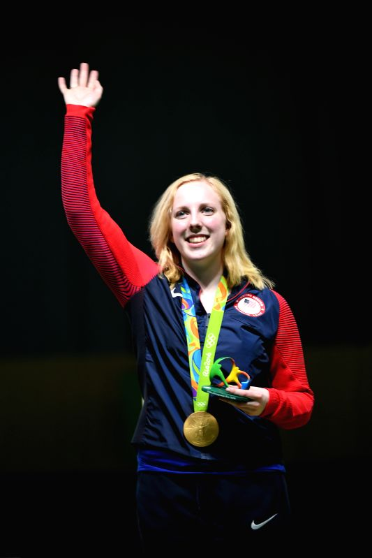 RIO DE JANEIRO, Aug. 6, 2016 - Virginia Thrasher of the United States waves to spectators at the awarding ceremony of the Women's 10m Air Rifle of shooting of the 2016 Rio Olympic Games at the ...