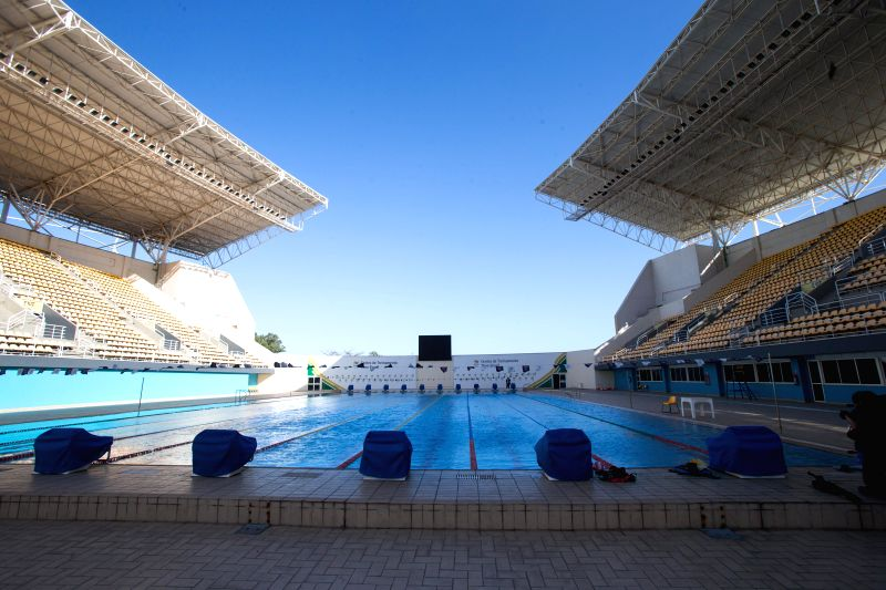 Photo taken on Aug. 6, 2014 shows the pool of the Maria Lenk Aquatic Park in Rio de Janeiro, Brazil, Aug. 6, 2014. Diving and synchronized swimming will be ...