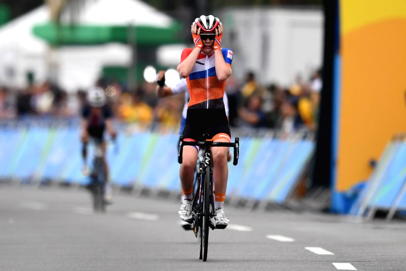 RIO DE JANEIRO, Aug. 7, 2016 - Anna van der Breggen of Netherlands celebrates after the women's cycling road race final in Rio de Janeiro, Brazil, on Aug. 7, 2016. Breggen won gold medal.