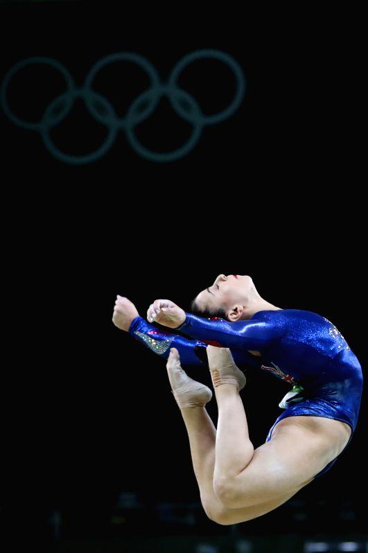 RIO DE JANEIRO, Aug. 7, 2016 - Britain's Claudia Fragapane competes for the artistic gymnastics preliminary round of balance beam at the Rio 2016 Olympic Games in Rio de Janeiro on Aug. 7, 2016.