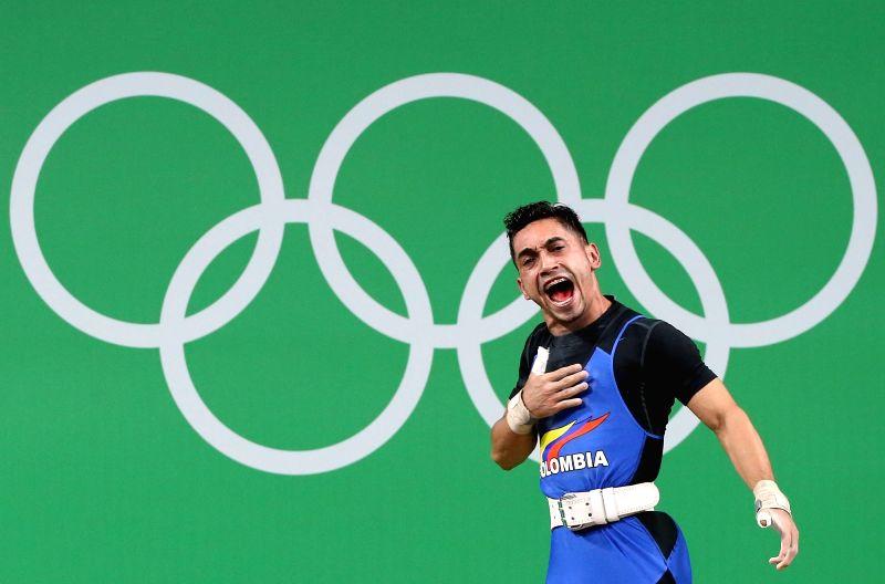 RIO DE JANEIRO, Aug. 7, 2016 - Habib de Las Salas de la Rosa of Colombia reacts during the men's 56kg final of weightlifting at the 2016 Olympic Games, in Rio de Janeiro, Brazil, on Aug. 7, 2016. ...