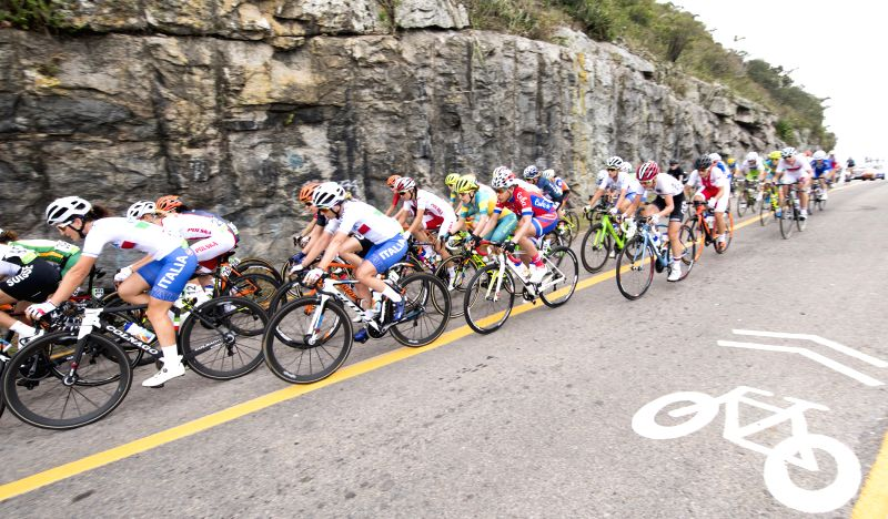 RIO DE JANEIRO, Aug. 7, 2016 - Players compete during the women's cycling road race final in Rio de Janeiro, Brazil, on Aug. 7, 2016. Breggen won gold medal.