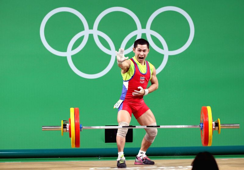 RIO DE JANEIRO, Aug. 7, 2016 - Witoon Mingmoon of Thailand reacts during the men's 56kg final of weightlifting at the 2016 Olympic Games, in Rio de Janeiro, Brazil, on Aug. 7, 2016. Witoon Mingmoon ...