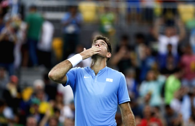 RIO DE JANEIRO, Aug. 8, 2016 - Argentina's Juan Martin del Potro reacts during a second round match of men's singles tennis against Portugal's Joao Sousa at the 2016 Rio Olympic Games in Rio de ...