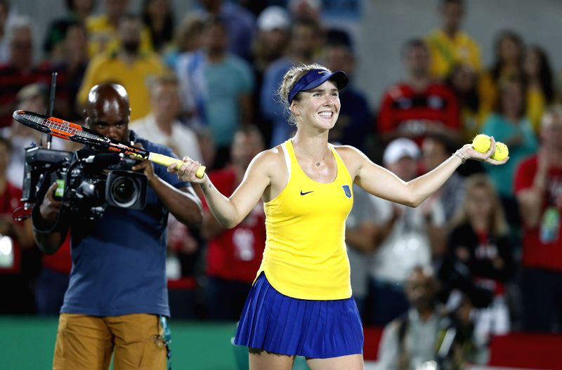 RIO DE JANEIRO, Aug. 9, 2016 - Elina Svitolina of Ukraine reacts during a women's sigles third round match of tennis against Serena Williams of the Unites States of America at the 2016 Rio Olympic ...