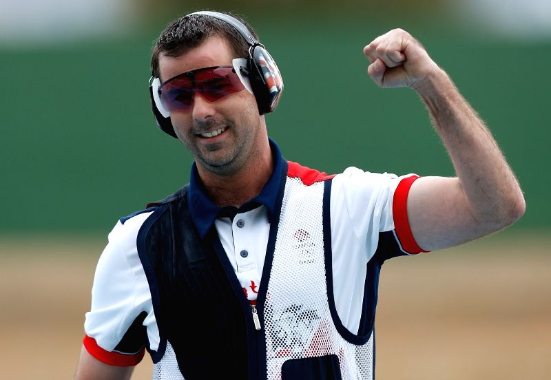 RIO DE JANEIRO, August 8, 2016 - Britain's Edward Ling celebrates during the men's trap final of shooting at the Rio 2016 Olympic Games in Rio de Janeiro, Brazil, August 8, 2016. Edward Ling won the ...