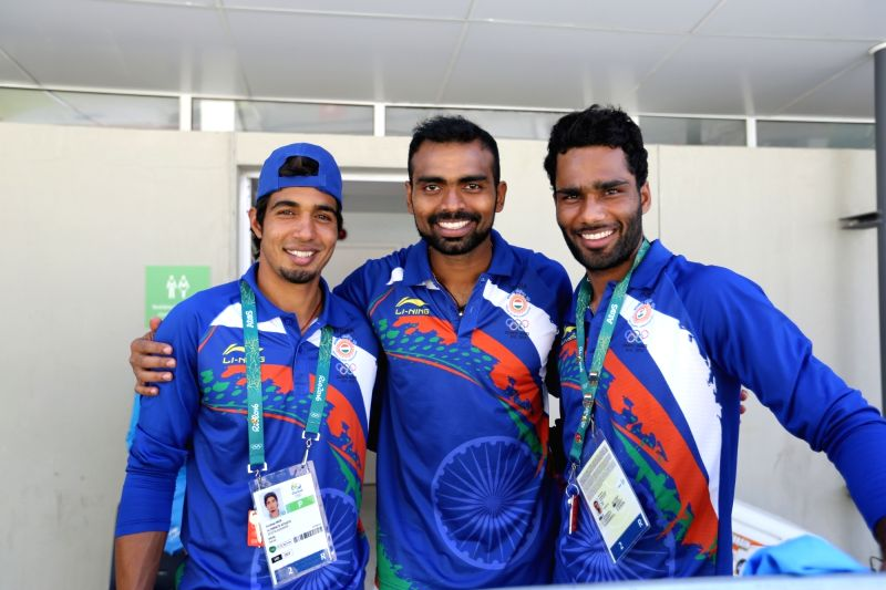 Rio De Janeiro: Captain of Indian Hockey team PR Sreejesh (C) with team mates after winning the match against Ireland at the games village in Rio de Janeiro on Aug. 6, 2016.