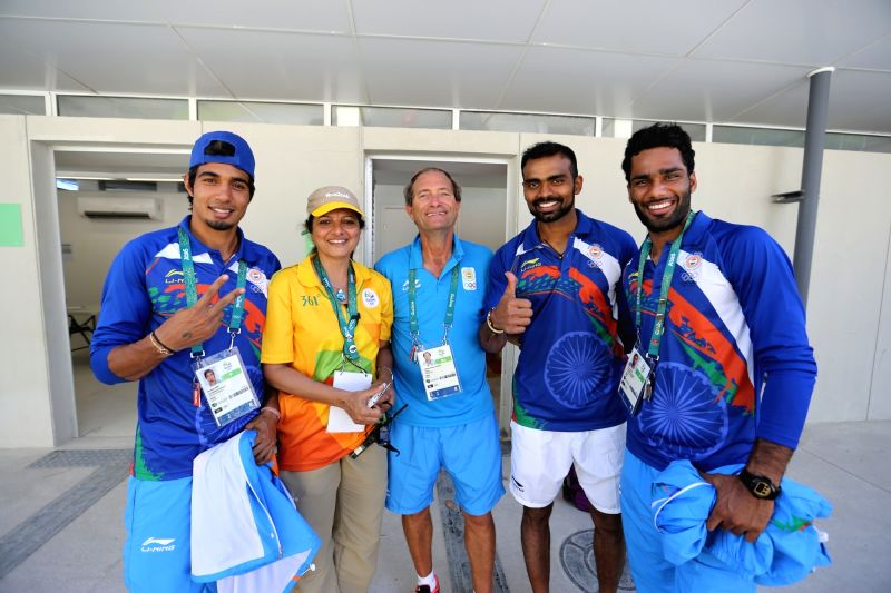 Rio De Janeiro: Captain of Indian Hockey team PR Sreejesh (2R) with the Coach team mates after winning the match against Ireland at the games village in Rio de Janeiro on Aug. 6, 2016.