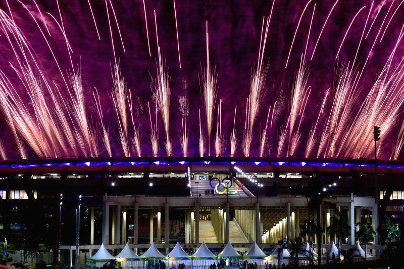 RIO DE JANEIRO, Fireworks explode over the Maracana Stadium during the opening ceremony of the 2016 Rio Olympic Games in Rio de Janeiro, Brazil, Aug. 5, 2016. (Xinhua/Yue Yuewei?(xr/IANS)