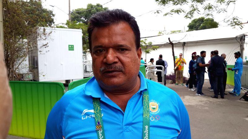 Rio de Janeiro: Indian archery head coach Dharmendra Tiwari at Olympic Village in Rio de Janeiro, Brazil on Aug 7, 2016.