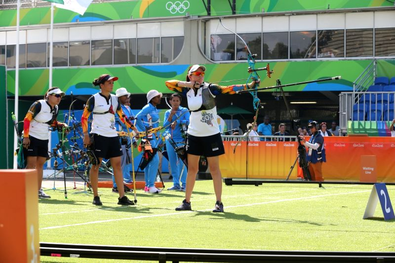 Rio De Janeiro: Indian archery team performs at the Olympic archery stadium in Rio de Janeiro on Aug. 7, 2016.  The Indian women's archery team crashed out of the Rio Olympics after losing to Russia ...