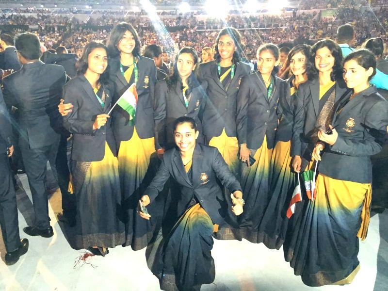 Rio De Janeiro: Indian Gymnast Dipa Karmakar (C) during the opening ceremony of the 2016 Rio Olympic Games at Maracana Stadium in Rio de Janeiro, Brazil, Aug. 5, 2016.