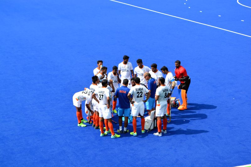 Rio de Janeiro: Indian hockey coach Roelant Oltman interact with players during the Pool B match between India and Argentina at the 2016 Rio Olympic Games in Rio de Janeiro, Brazil on Aug 9, 2016.