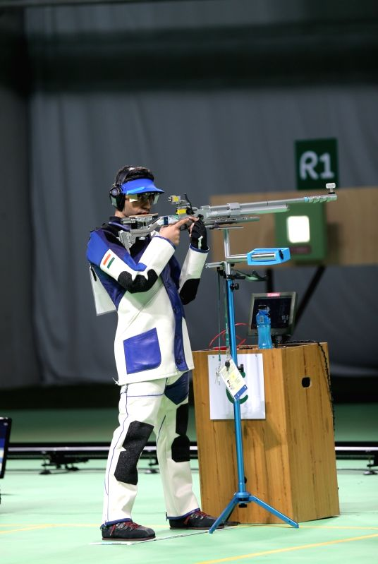 Rio de Janeiro: Indian shooter Abhinav Bindra competeing at 10m air rifle event  at the Olympic Shooting Centre in Rio de Janeiro on Aug. 8, 2016.
