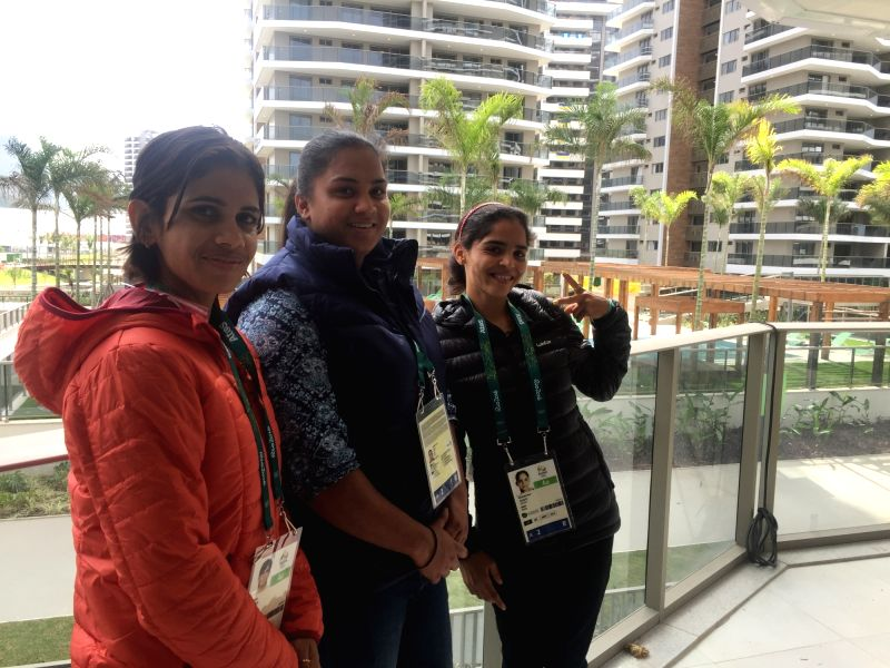 Rio De Janeiro: Indian walker Sapana Punia, shotputter Manpreet Kaur and walker Khushbir Kaur at the Olympic Village in Rio De Janeiro on July 29, 2016. - Manpreet Kaur and Khushbir Kaur