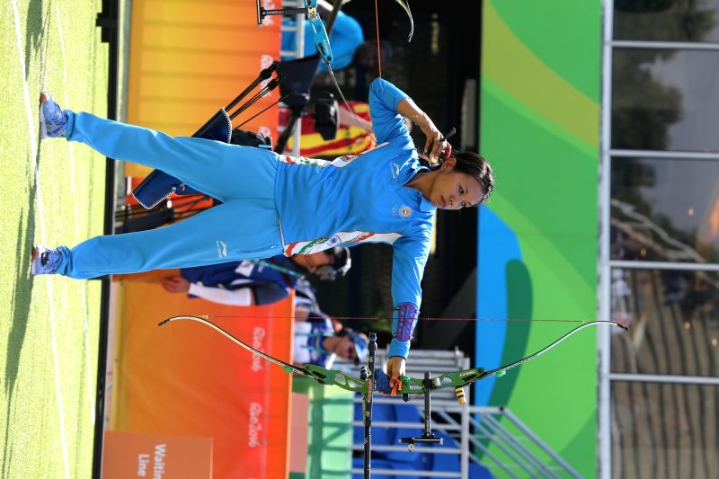 Rio De Janeiro: Indian women archer Bombayla Devi in action against Russia in the quarter-finals at the Olympic archery stadium in Rio de Janeiro on Aug. 7, 2016.  The Indian women's archery team ...