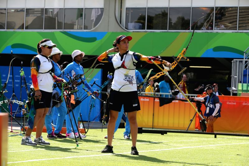 Rio De Janeiro: Indian women archery team looks on as the Columbian team performs at the Olympic archery stadium in Rio de Janeiro on Aug. 7, 2016.