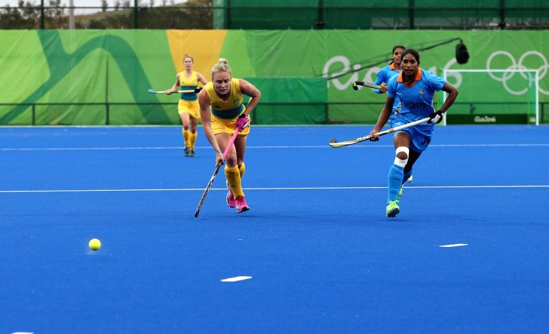 Rio de Janeiro: Indian women's hockey team in action against Australia in Rio de Janeiro, on Aug. 11, 2016.
