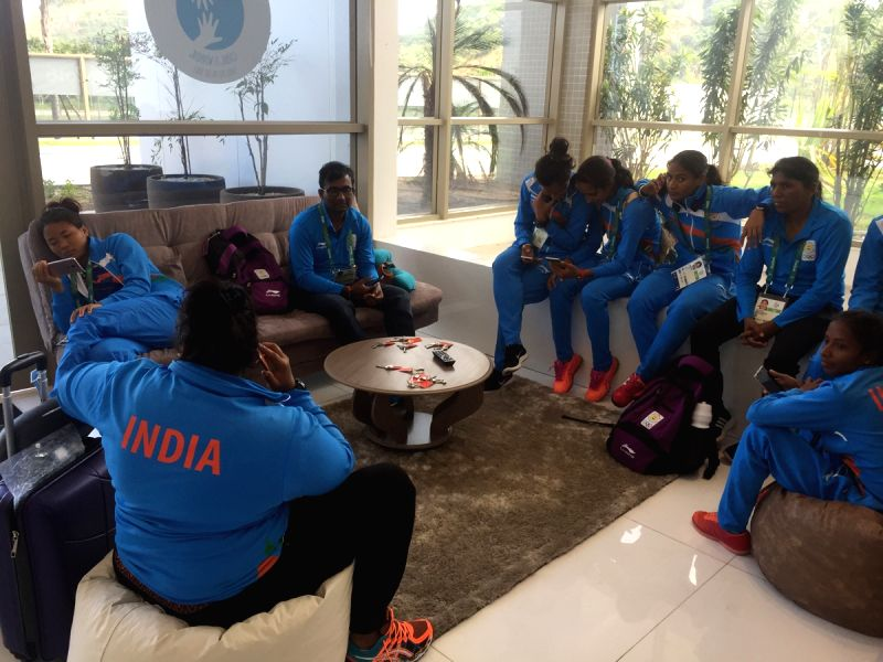 Rio De Janeiro: Indian womens Hockey team at the Olympic Village in Rio De Janeiro on July 31, 2016.