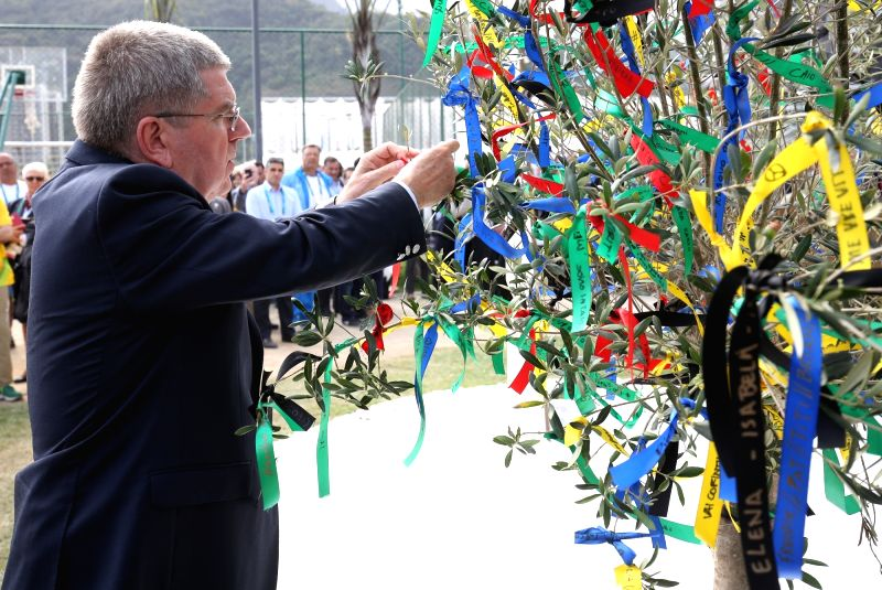 Rio De Janeiro: IOC President, Thomas Bach during the inauguration of the Mourning Stone at the Athletes Village in Rio De Janeiro ahead of the Rio 2106 Olympic Games. (Photo Courtesy: IOC)