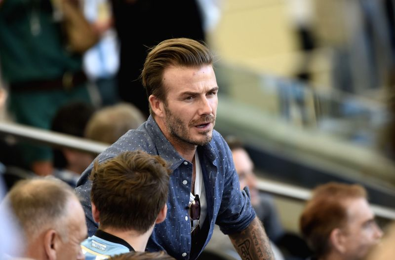 Former England footballer David Beckham is seen before the final match between Germany and Argentina of 2014 FIFA World Cup at the Estadio do Maracana ...