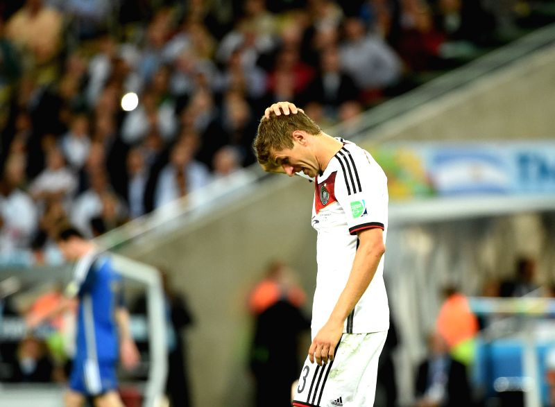 Germany's Thomas Muller reacts during the final match between Germany and Argentina of 2014 FIFA World Cup at the Estadio do Maracana Stadium in Rio de ...
