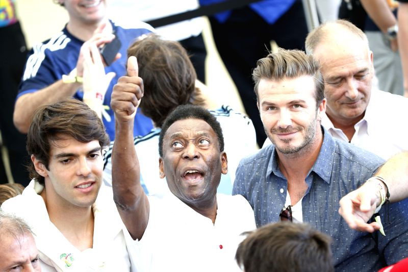 Kaka, Pele, and David Beckham are seen before the final match between Germany and Argentina of 2014 FIFA World Cup at the Estadio do Maracana Stadium in Rio .