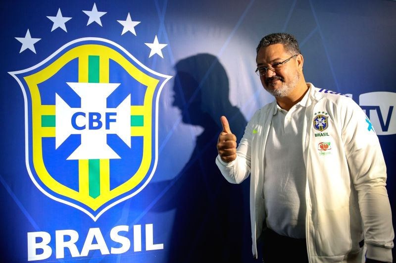 RIO DE JANEIRO, July 20, 2016 - Rogerio Micale, head coach of Brazil's Olympic soccer team, attends a press conference at the Granja Comary Soccer Complex in the city of Teresopolis, state of Rio de ...