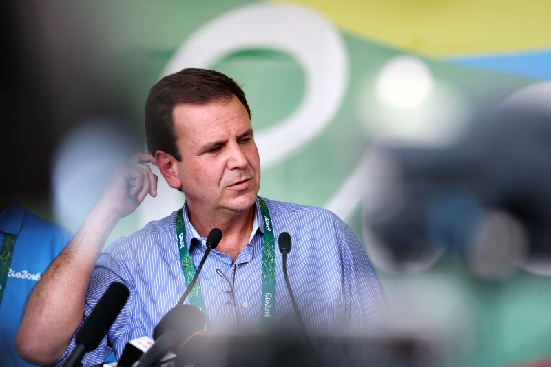 RIO DE JANEIRO, July 25, 2016 - Rio de Janeiro's Mayor Eduardo Paes speaks to the press after the opening ceremony of the Olympic Village of the Rio 2016 Olympic Games in Rio de Janeiro, Brazil, July ...